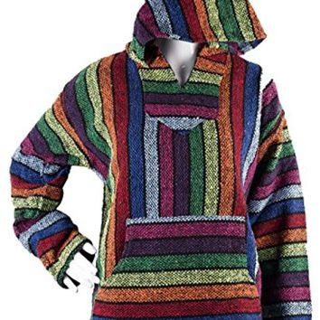 Multicolor Rainbow Mexican Poncho - Baja Hoodie Jacket Sweater - Joe