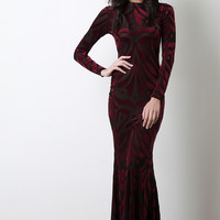 Burnout Velvet Mermaid Maxi Dress