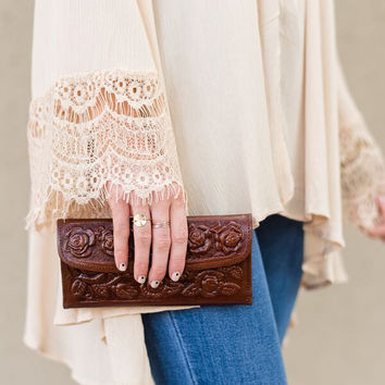 Floral Tooled Brown Leather Wallet