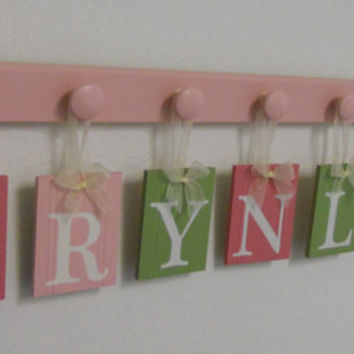 Baby Girl Nursery Wall Letters Includes Personalized Alphabet Name and 7 Pegs Pink and Green Custom for BRYNLEY