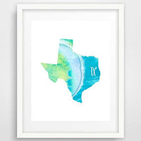 Texas state map, poster, download, blue texas map, wall print, map of texas, art prints, watercolor wall art, map texas, best birthday gifts