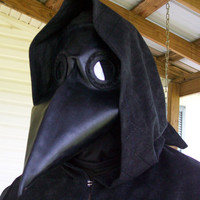 Black leather plague doctor mask