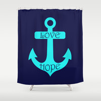 Anchor Navy Turquoise Shower Curtain by Beautiful Homes
