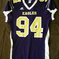 Men's EAGLES 94 Football Jersey - Size L - Purple / Gold - Russell Athletic