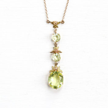 Antique Art Deco 10k Yellow Gold Simulated Peridot Lavalier Drop Necklace - Vintage 1920s Rose and Yellow Gold Flower Floral Fine Jewelry