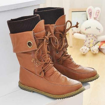 New arrival cool boots 2015 winter spring autumn fashion hot sale Half Knee High Boots Platform Shoes for Women Fashion Lace Up Motorcycle Boots Women Autumn Snow Shoes Boots fashion shoes Big size 34-43 on sale = 1946852292
