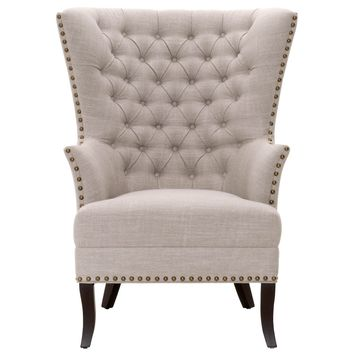Transitional Style Wing-back Design Club Chair, Beige
