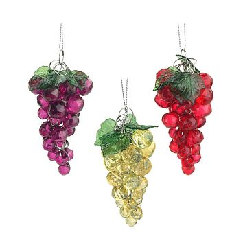 Beaded Grape Cluster Christmas Tree Ornaments, 3-1/2-Inch, 3-Piece