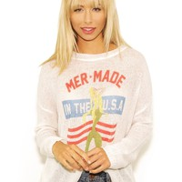 The Laundry Room Mermade in the USA Beach Bummies Sweater in White | Boutique To You
