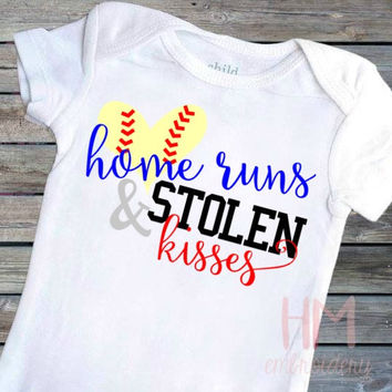 Home Runs And Stolen Kisses Softball - Baseball Vinyl Shirt