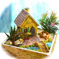 Butterfly Garden Planter Kit ~ Butterfly Cottage House ~ Miniature Garden Set ~ Sand NOT Included ~ Fake Succulent Option at Checkout