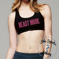 Beast Mode Sports Bra, gym bra, gym clothes, workout clothes, beast mode shirt, workout, tank top, racerback, sports bra, quality