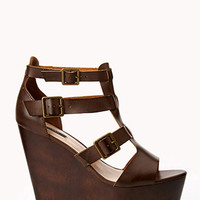Faux Leather Gladiator Wedges