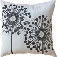 "Decorative Black Sequins Dandelion Floral Throw Pillow COVER 18"" White Black"