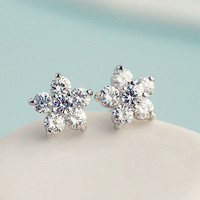 Little Blossom Flower Rhinestone Earrings - LilyFair Jewelry