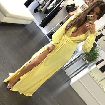 Yellow Side Slit Plunging Neckline Long Sleeve Maxi Dress