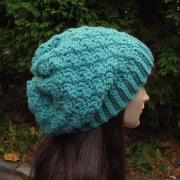 Lagoon Blue Slouchy Crochet Hat - Womens Slouch Beanie - Oversized Slouchy Beanie - Chunky Hat - Winter Slouchy Hat