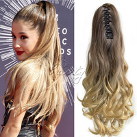 "One Piece Synthetic Wavy Pony Tail Hair Extension Curly Clip On Ponytail Hairpieces 20"" Long Ombre Color Free/Drop Shipping B40"