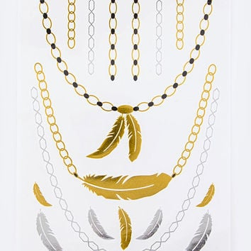Feather Chain Foil Tattoo