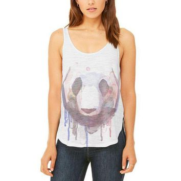 PEAPGQ9 Watercolor Dripping Paint Panda Juniors Flowy Side Slit Tank Top