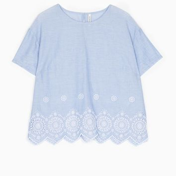 Top with embroidered hem detail - TOPS AND BLOUSES - WOMAN | Stradivarius United Kingdom