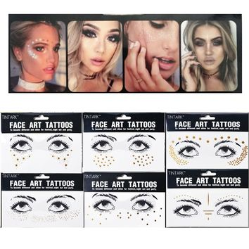 1PC Temporary Personality Fashion Disposable Gold Face Tattoo Stickers Waterproof Bronzing Beauty Freckles Makeup Flash Body Art