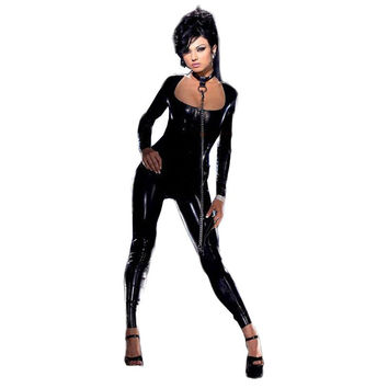 Wonder beauty rompers women Jumpsuit Costume Faux leather Jumpsuits Vinyl Sexy Wet Look Club Jumpsuit without the chain
