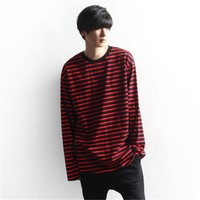 Vellsar Autumn Korean Men Women Fashion Loose Oversize Extra Long Sleeve Couple T Shirts Harajuku Black White Striped T-shirts