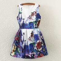 Peony Print Sleeveless Skater Dress