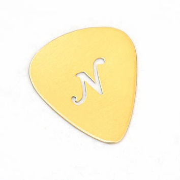 Fancy Letter Personalized Bronze Handmade Guitar Pick with Unique Calligraphy Inspired Cut Out