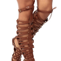 Tan Faux Leather Thigh High Gladiator Sandals