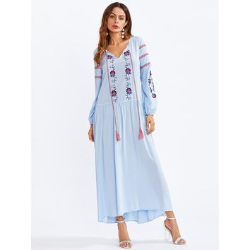 Blue Tasseled Tie Neck Embroidered Smock Dress
