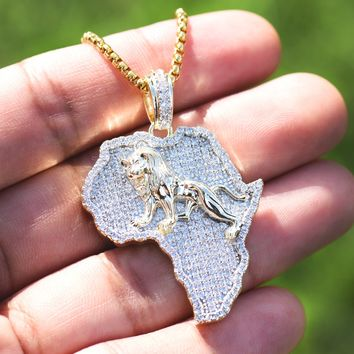 14k Gold Finish African Lion Map Pendant Box Chain