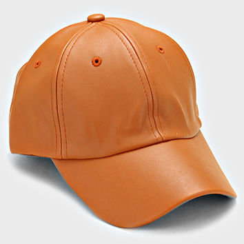 Faux Leather Weekend Baseball Hat - Brown
