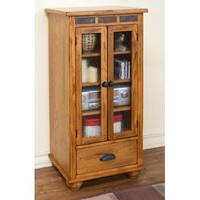 Sunny Designs Sedona Audio Pier with Drawer In Rustic Oak