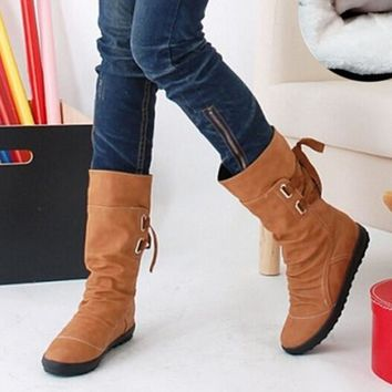 Mid-Calf Solid Flats Winter Boots Women Warm Plush Boots