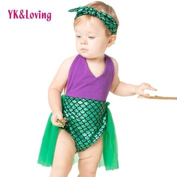 YK&Loving Sequin Little Mermaid Tail Princess Dress Cosplay Halloween Costume Baby Girl Fancy Green Dress New Playsuits Swimming