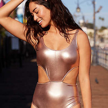 Aerie Super Scoop One Piece Swimsuit , Rose Gold