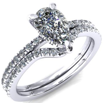 Mayeli Pear Moissanite 4 Claw Prong Micro Pave Diamond Sides Engagement Ring