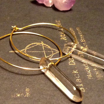 Simple Raw QUARTZ Hoop Earrings//Quartz crystal stick nuggets Earrings // Boho Gypsy unique Jewelry Christmas gift idea