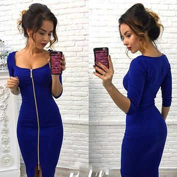 Autumn Dress 2017 New Fashion Women Casual Knitting Bodycon Sexy Club Dress Knee-Length Party Wear Dresses