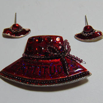 Red Hat Society Hat Brooch with ATTITUDE and Pierced Earring Set