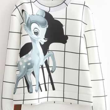 White Plaid Deer Print Long Sleeve Sweatshirt