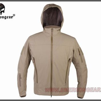 Hunting Combat EMERSON Outdoor Light Tactical Soft Shell Jacket Hooded Breathable perspiration Dark Earth EM6873D
