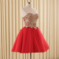Tulle Lace Short Prom Dresses Evening Dress Girl Lovely Club Prom Party Gown Lace-up Red Champagne Black Vestidos De Noche 2016