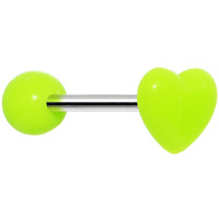 14 Gauge Green Neon Beating Heart Straight Barbell Tongue Ring 5/8"