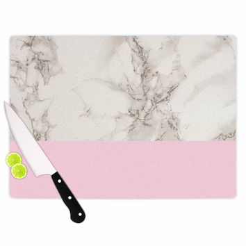 "Suzanne Carter ""Marble And Pink Block"" Modern Contemporary Cutting Board"