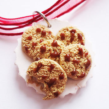 NECKLACE / CHARM / KEYCHAIN  Cute Cookies on Plate by FrozenNote