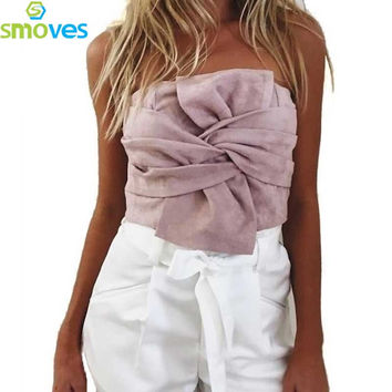 Smoves Womens 80`s Vintage Strapless Twisted Bowknot Suede Bandeau Tops Strapless Tank Tops Summer Party Crop Top Xmas GT128