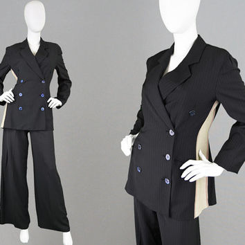 Vintage 90s RIFAT OZBEK Womens Trouser Suit 3 Piece Suit Palazzo Pants Pinstripe Suit Androgynous Jacket Double Breasted Futuristic Clothes